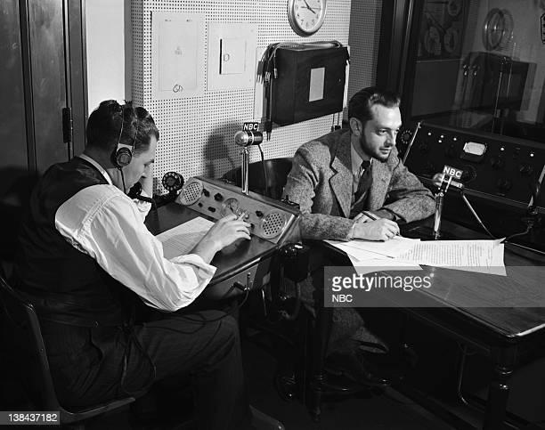 Jack Harrison Hartley and John Vandercook at the news control desk