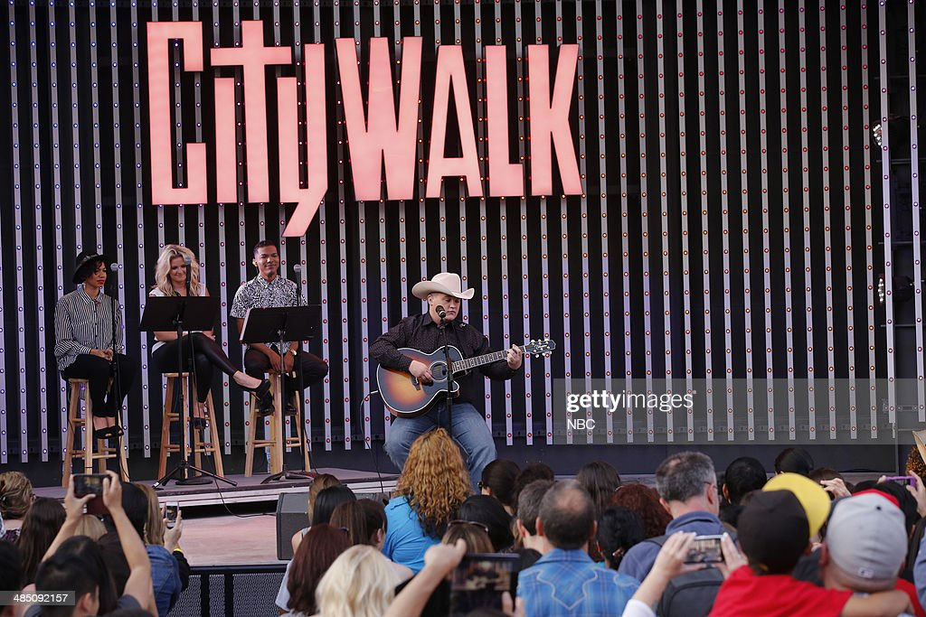 Jake Worthington performs at the top 12 artists of NBC's 'The Voice' at City Walk --