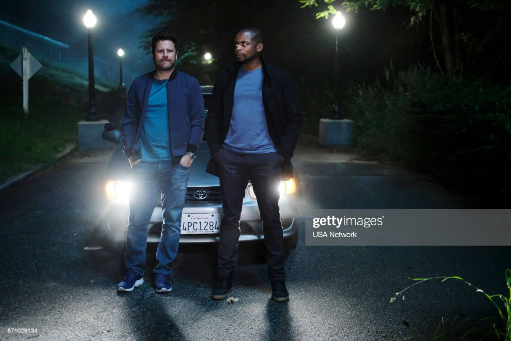 James Roday as Shawn Spencer, Dule Hill as Burton 'Gus' Guster --