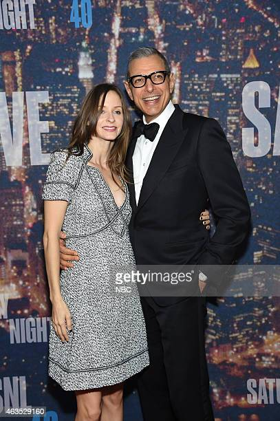Jeff Goldblum and guest walk the red carpet at the SNL 40th Anniversary Special at 30 Rockefeller Plaza in New York NY on February 15 2015