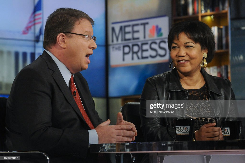 – Jeffrey Golberg, The Atlantic, left, and Helene Cooper, White House Correspondent, The New York Times, right, appear on 'Meet the Press' in Washington D.C., Sunday, Dec. 9, 2012.