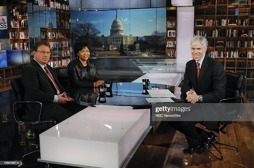 – Jeffrey Golberg, The Atlantic, left, Helene Cooper, White House Correspondent, The New York Times, center, and moderator David Gregory, right, appear on 'Meet the Press' in Washington D.C., Sunday, Dec. 9, 2012.
