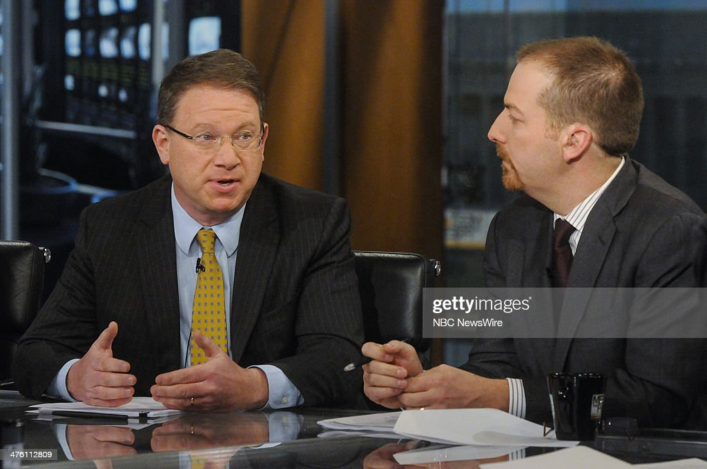 Jeffrey Goldberg, Correspondent, The Atlantic & Columnist, Bloomberg View, left, and Chuck Todd, NBC News Political Director, right, appear on 'Meet the Press' in Washington, D.C., Sunday, March 2, 2014.