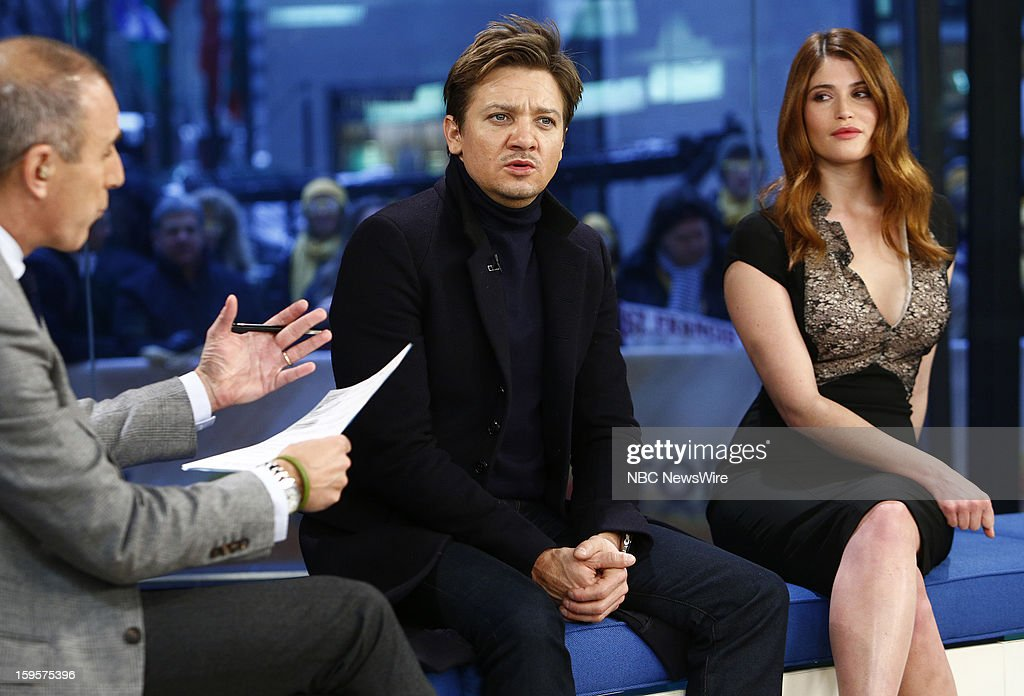 <a gi-track='captionPersonalityLinkClicked' href=/galleries/search?phrase=Jeremy+Renner&family=editorial&specificpeople=708701 ng-click='$event.stopPropagation()'>Jeremy Renner</a> and <a gi-track='captionPersonalityLinkClicked' href=/galleries/search?phrase=Gemma+Arterton&family=editorial&specificpeople=4296305 ng-click='$event.stopPropagation()'>Gemma Arterton</a> appear on NBC News' 'Today' show --