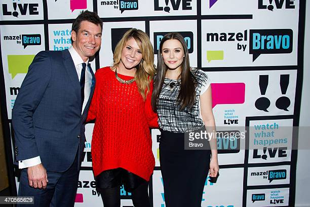 Jerry O'Connell Grace Helbig and Elizabeth Olsen Photo by Charles Sykes/Bravo/NBCU Photo Bank via Getty Images