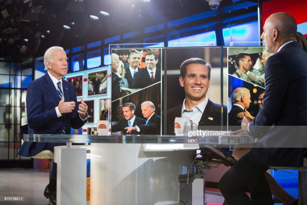 Joe Biden, Matt Lauer, Savannah Guthrie, Al Roker and Hoda Kotb on Monday, November 13, 2017 --