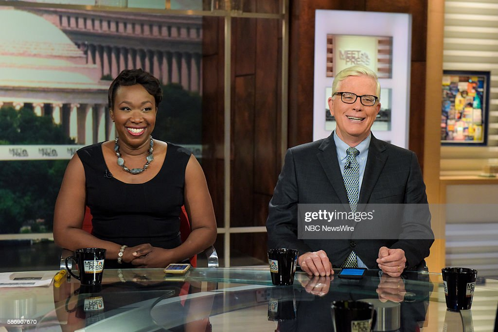 Joy AnnReid Host MSNBC's AM Joy left and Hugh Hewitt Host The Hugh Hewitt Show right appear on 'Meet the Press' in Washington DC Sunday August 7 2016