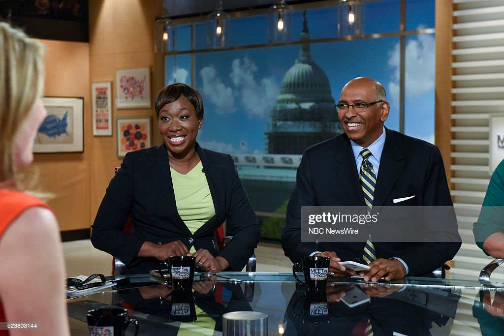 JoyAnn Reid MSNBC National Correspondent left and Michael Steele Former Chair Republican National Committee right appear on 'Meet the Press' in...