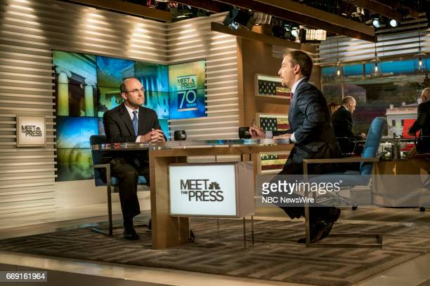 Juan Zarate NBC News Security Analyst and moderator Chuck Todd appear on 'Meet the Press' in Washington DC Sunday April 16 2017