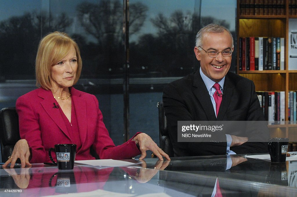 Judy Woodruff, Co-Anchor and Managing Editor, PBS NewsHour, left, and David Brooks, New York Times Columnist, right, appear on 'Meet the Press' in Washington, D.C., Sunday, Feb. 23, 2014.