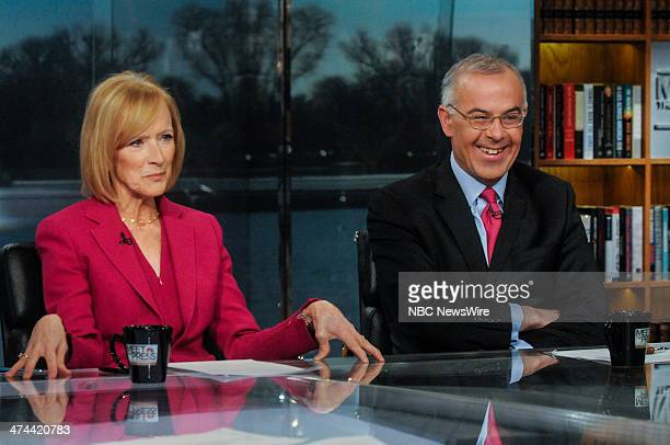 Judy Woodruff CoAnchor and Managing Editor PBS NewsHour left and David Brooks New York Times Columnist right appear on 'Meet the Press' in Washington...