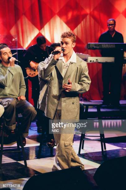 Justin Timberlake of musical group N'Sync performing on April 12 1999