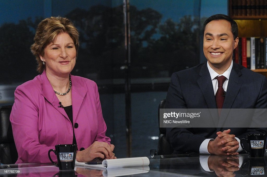 Karen Hughes Fmr Counselor to President George W Bush left and Rep Joaquin Castro right appear on 'Meet the Press' in Washington DC Sunday April 28...