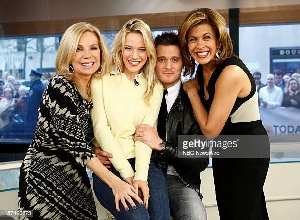 Kathie Lee Gifford Luisana Lopilato Michael Buble and Hoda Kotb appear on NBC News' 'Today' show