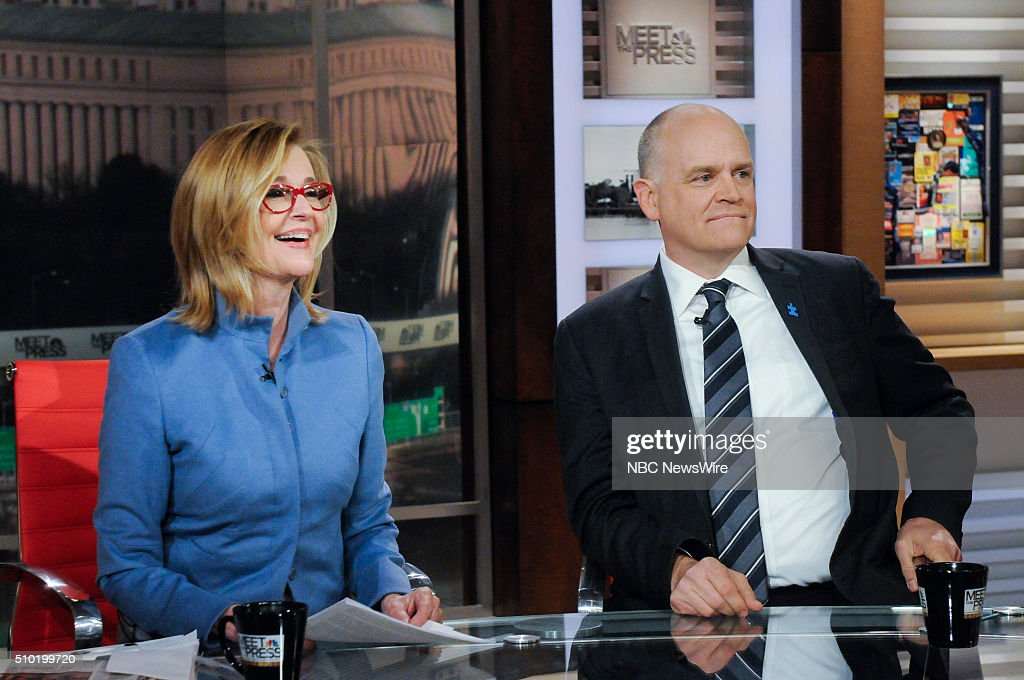 Kathleen Parker, Columnist, The Washington Post, left, and Ron Fournier, Senior Political Columnist, National Journal, right, appear on 'Meet the Press' in Washington, D.C., Sunday Feb. 14, 2016.