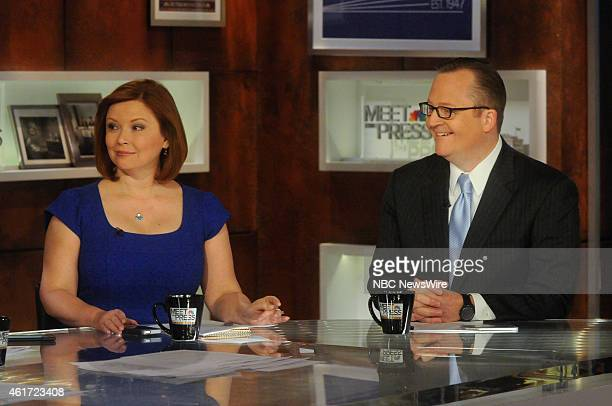 Kelly ODonnell NBC News Capitol Hill Correspondent left and Robert Gibbs Fmr White House Press Secretary right appear on 'Meet the Press' in...