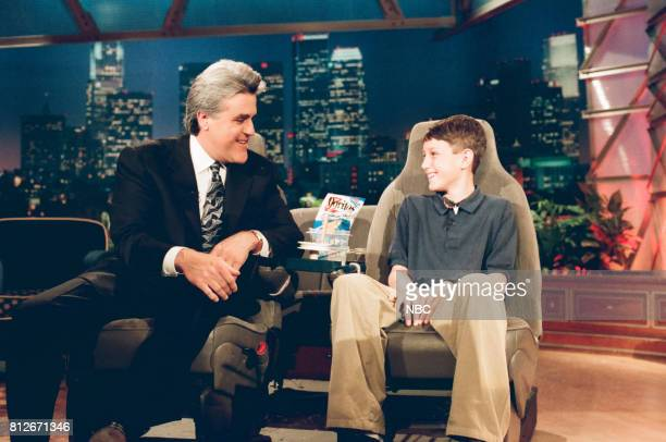 Kid inventor and host Jay Leno during 'Kid Inventors' segment on April 2 1998