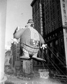 Large balloons pass overhead during the 1945 Macy's Thanksgiving Day Parade Photo by NBCU Photo Bank