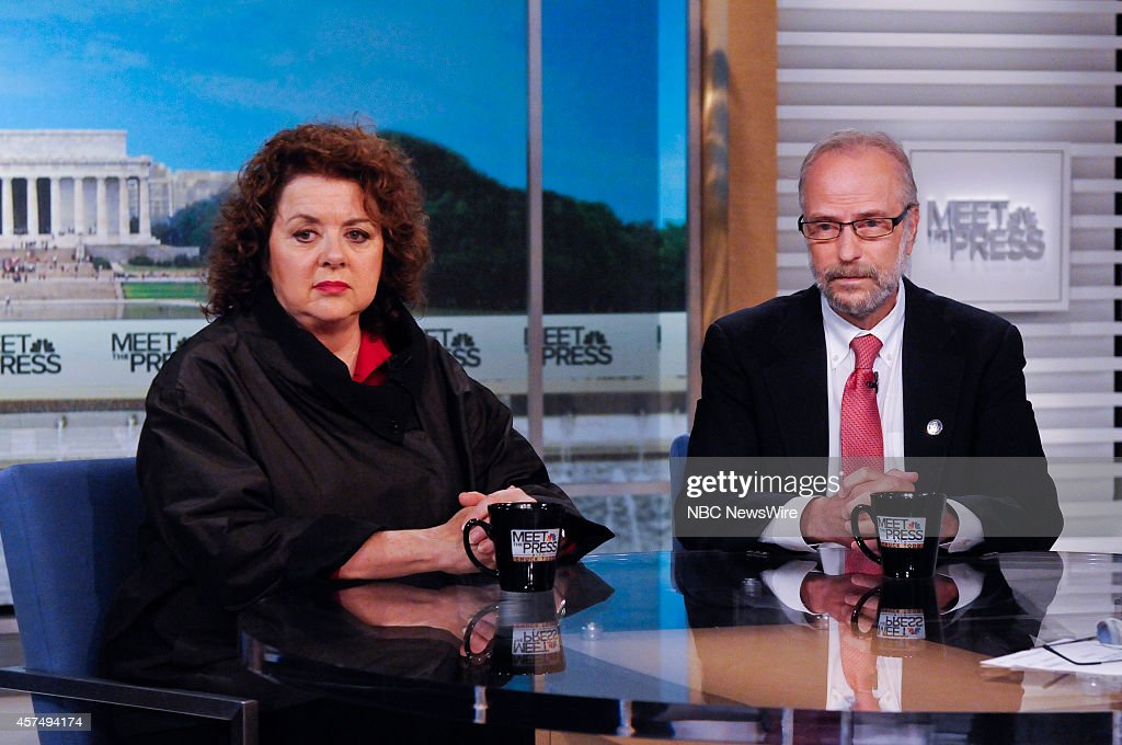 Laurie Garrett, Sr. Fellow, Council of Foreign Relations, left, and Gabe Kelen, M.D., Professor and Chair, Dept. of Emergency Medicine, right, appear on 'Meet the Press' in Washington, D.C., Sunday, Oct. 19, 2014.