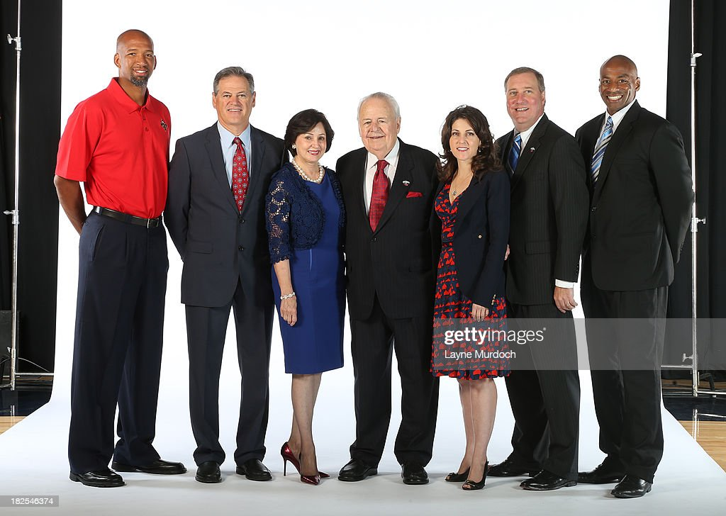 Pictured left to right Monty Williams Mickey Loomis Gayle Benson Tom Benson Rita Benson LeBlanc Dennis Lauscha Dell Demps of The New Orleans Pelicans...
