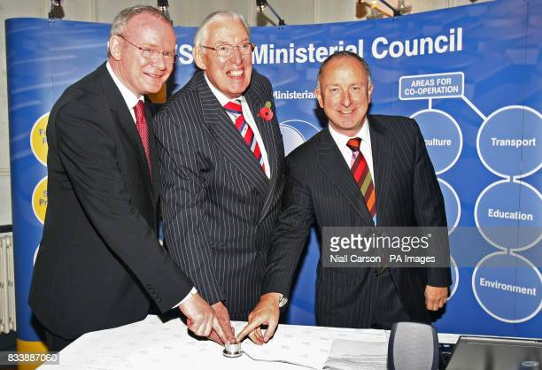 Pictured left to right Northern Ireland's Deputy First Minister Martin McGuinness First Minister Ian Paisley and Irish Foreign minister Dermot Ahern...