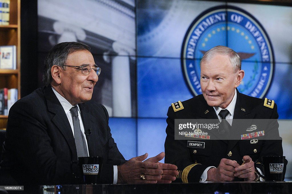 – Leon Panetta, Secretary of Defense, left, and Gen. Martin Dempsey, Chairman of the Joint Chiefs of Staff, right, appear in a pre-taped interview on 'Meet the Press' in Washington D.C., Friday, Feb. 1, 2013.