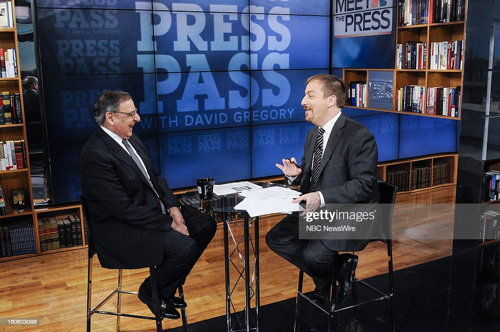 – Leon Panetta, Secretary of Defense, left, and moderator Chuck Todd, right, appear in a pre-taped interview on 'Meet the Press' in Washington D.C., Friday, Feb. 1, 2013.