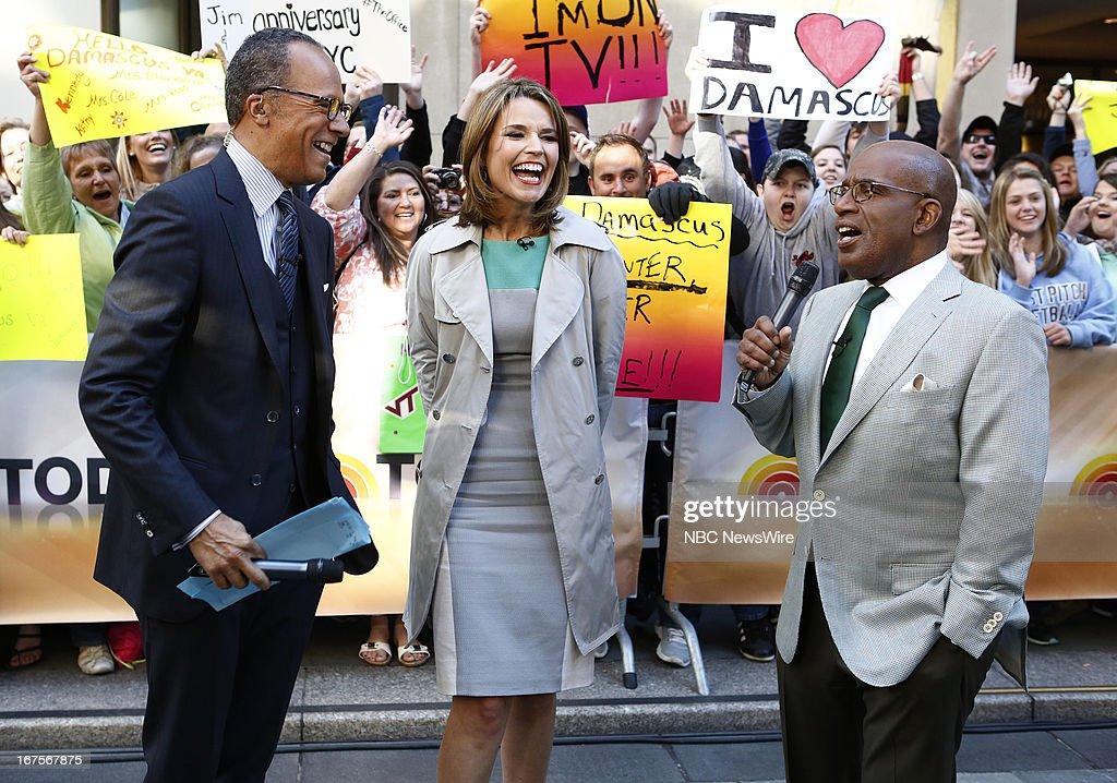 Lester Holt, Savannah Guthrie and Al Roker appear on NBC News' 'Today' show --