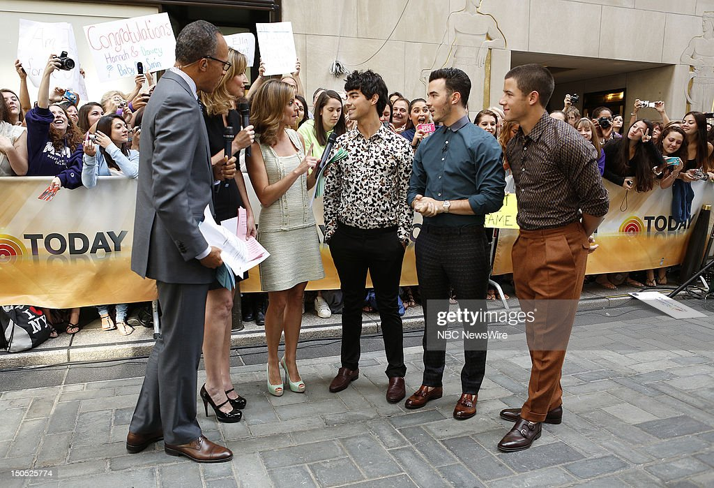 Lester Holt, Savannah Guthrie, Natalie Morales, Joe Jonas, Kevin Jonas and Nick Jonas appear on NBC News' 'Today' show --