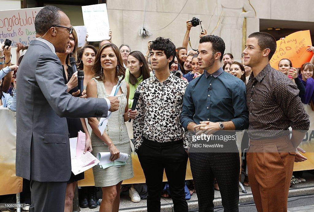 Lester Holt, Savannah Guthrie, Natalie Morales, Joe Jonas, Kevin Jonas and Nick Jonas appear on NBC News' 'Today' show --