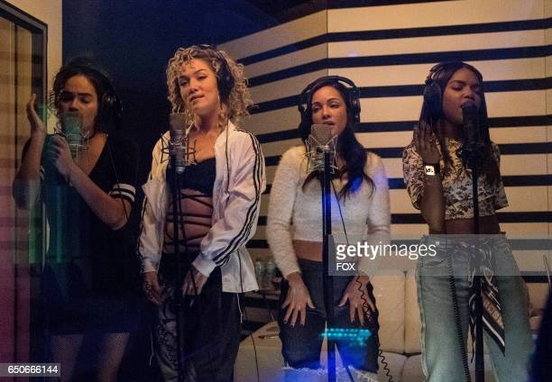 Pictured LR Brittany O'Grady Jude Demorest guest star Sharlene Taule and Ryan Destiny in the 'Boy Trouble' episode of STAR airing Wednesday March 1...