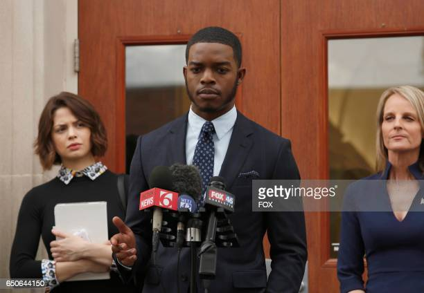 Pictured LR Conor Leslie Stephan James and Helen Hunt in SHOTS FIRED premiering Wednesday March 22 on FOX