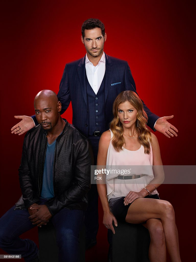 DB Woodside, Tom Ellis and Tricia Helfer on LUCIFER. The season 2 premiere episode of Lucifer airs Tuesday, September 19th (9:00-10:00 PM ET/PT) on FOX.