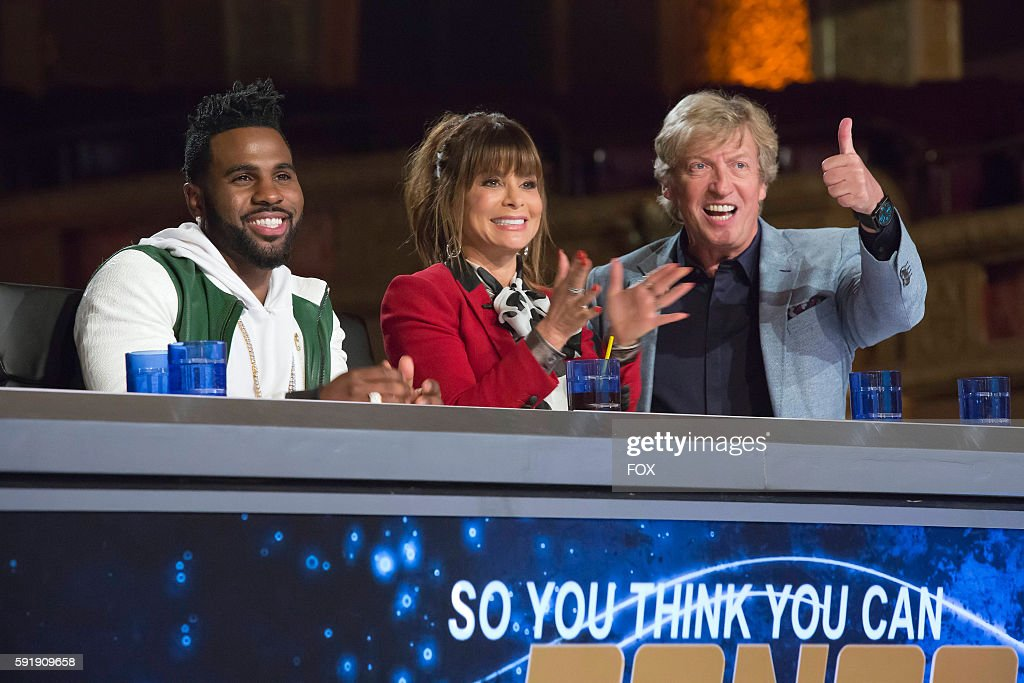 Pictured LR Jason Derulo Paula Abdul and Nigel Lythgoe in the Chicago auditions for SO YOU THINK YOU CAN DANCE THE NEXT GENERATION airing Monday June...