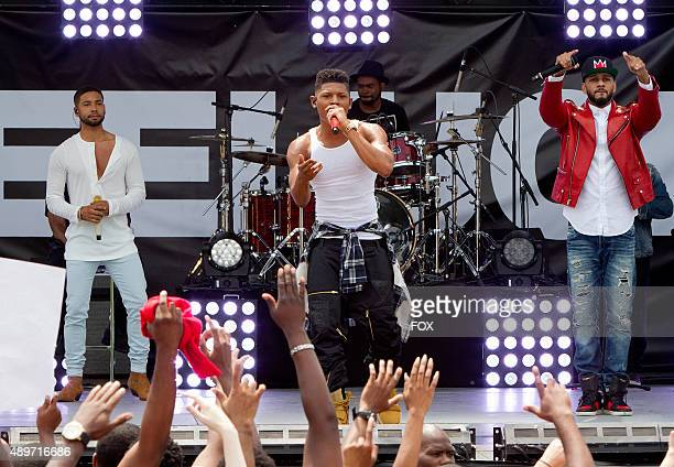 Pictured LR Jussie Smollett as Jamal Lyon Bryshere Gray as Hakeem Lyon and guest star Swizz Beatz in the The Devils Are Here Season Two premiere...