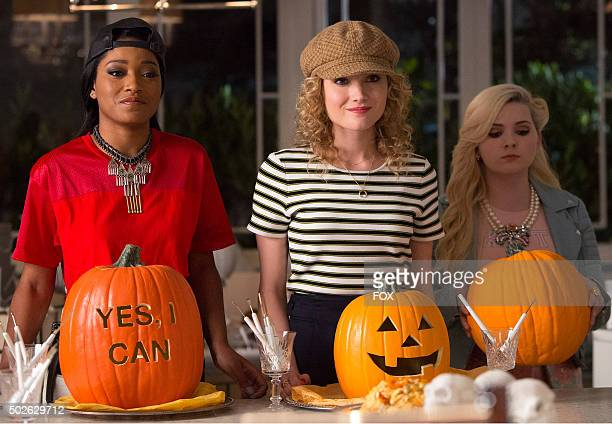Pictured LR Keke Palmer as Zayday Skyler Samuels as Grace and Abigail Breslin as Chanel in the 'Haunted House' episode of SCREAM QUEENS airing...