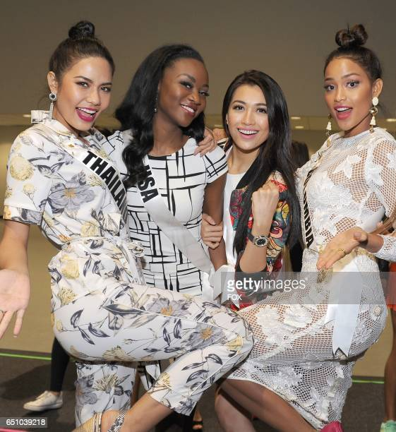 Pictured LR Miss Universe contestants Chalita Suansane from Thailand Deshauna Barber from the USA Le Hang from Vietnam and Andrea Tovar from Columbia...
