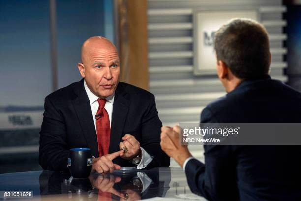 Lt Gen HR McMaster National Security Adviser to President Trump and moderator Chuck Todd appear on 'Meet the Press' in Washington DC Sunday Aug 13...