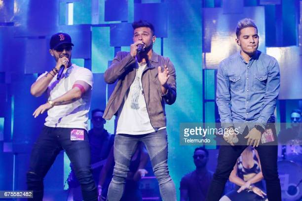 Luis Figueroa Pedro Capo and Christian Pagan from Guerra de Idolos perform during rehearsals at the Watsco Center in the University of Miami Coral...