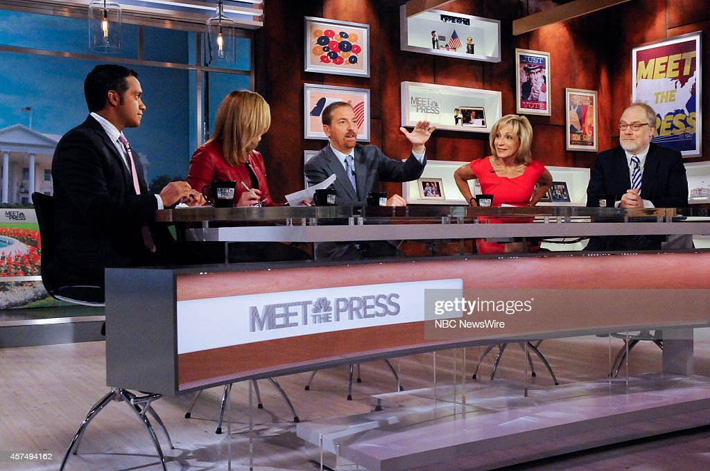 Manu Raju, Senior Congressional Reporter, Politico, Stephanie Cutter, Fmr. Deputy Campaign Manager for Barack Obama, moderator Chuck Todd, Andrea Mitchell, NBC News Chief Foreign Affairs Correspondent, and Mike Murphy, Republican Strategist, appear on 'Meet the Press' in Washington, D.C., Sunday, Oct. 19, 2014.