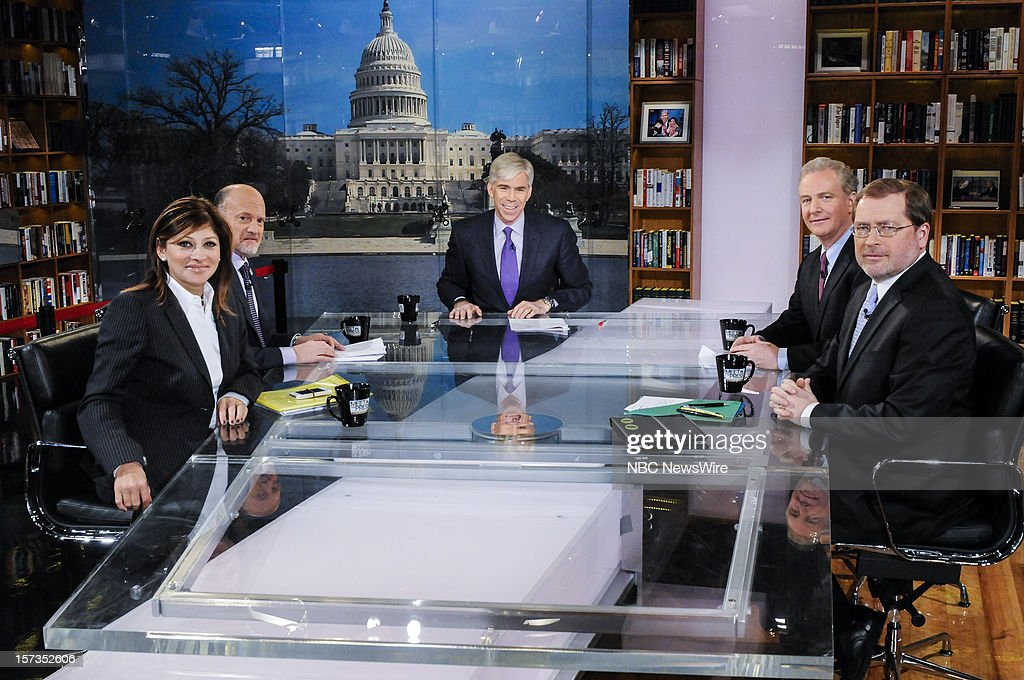 """– Maria Bartiromo, Host, CNBC's """"Closing Bell"""", Jim Cramer, Host, CNBC's """"Mad Money"""", moderator David Gregory, Rep. Chris Van Hollen, Ranking Member, House Budget Committee, and Grover Norquist, President, Americans for Tax Reform, appear on 'Meet the Press' in Washington D.C., Sunday, Dec. 2, 2012."""