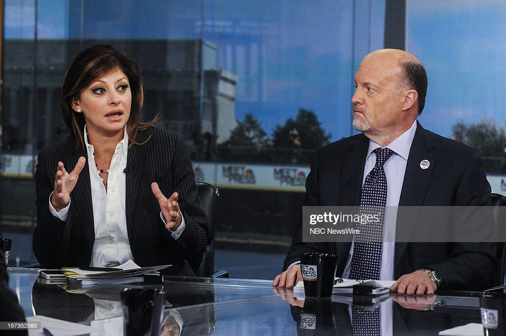 """– Maria Bartiromo, Host, CNBC's """"Closing Bell"""" left, and Jim Cramer, Host, CNBC's """"Mad Money"""" right, appear on 'Meet the Press' in Washington D.C., Sunday, Dec. 2, 2012."""