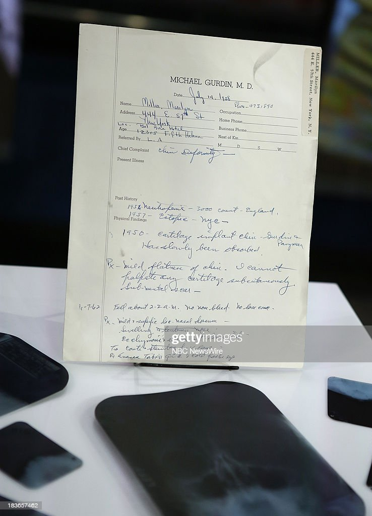Marilyn Monroe's doctors letter and x-rays appear on NBC News' 'Today' show --