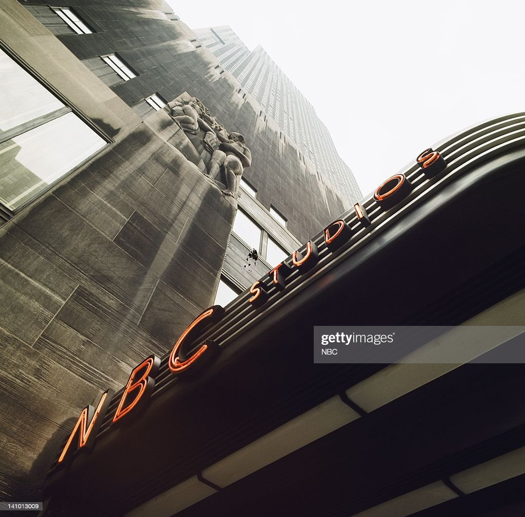 Marquee at the ground-level entrance for NBC Studios Radio City and The Rainbow Room located at Rockefeller Center, New York, NY in the late 1960s -- Photo by: NBC/NBCU Photo Bank