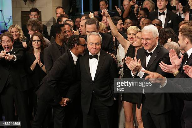 Martin Short Tina Fey Chris Rock tim Meadows Lorne Michaels Miley Cyrus Molly Shannon Steve Martin during the Goodnights Credits on February 15 2015