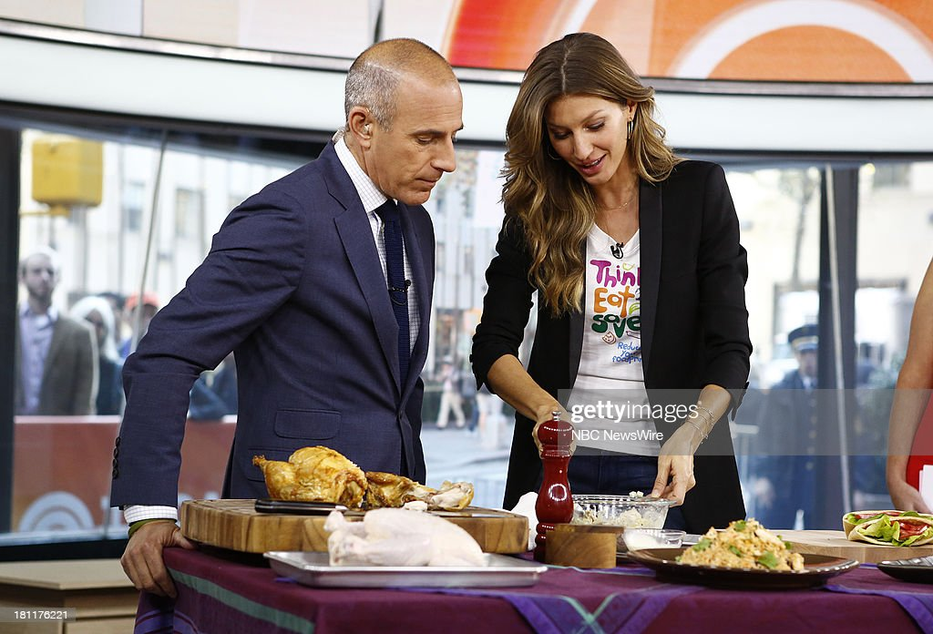 Matt Lauer and Gisele Bundchen appear on NBC News' 'Today' show --