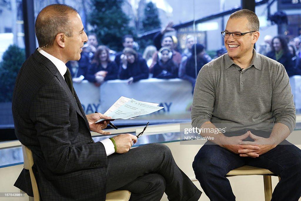 Matt Lauer and Matt Damon appear on NBC News' 'Today' show --