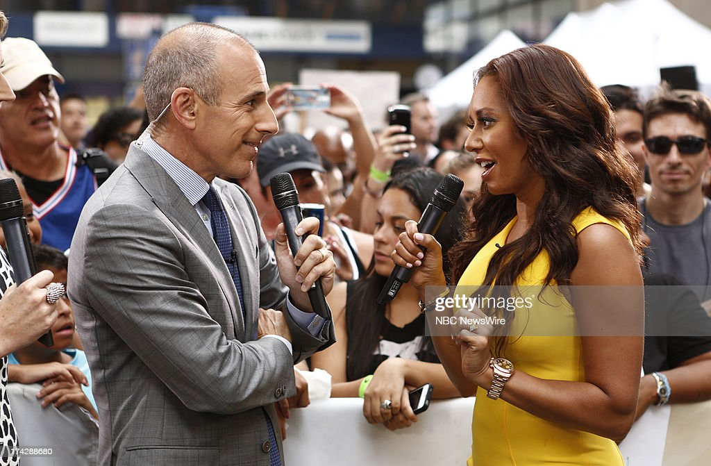 Matt Lauer and Melanie Brown (Mel B) appear on NBC News' 'Today' show --