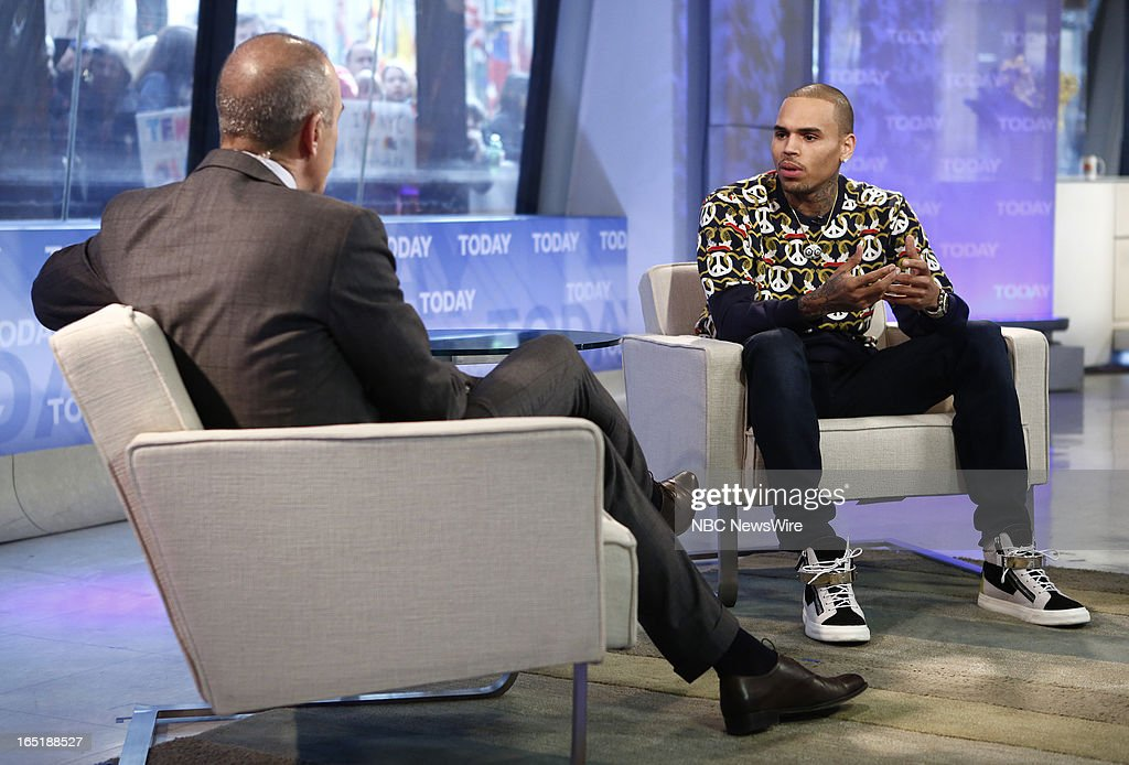 Matt Lauer and singer Chris Brown appear on NBC News' 'Today' show on April 1, 2013 --