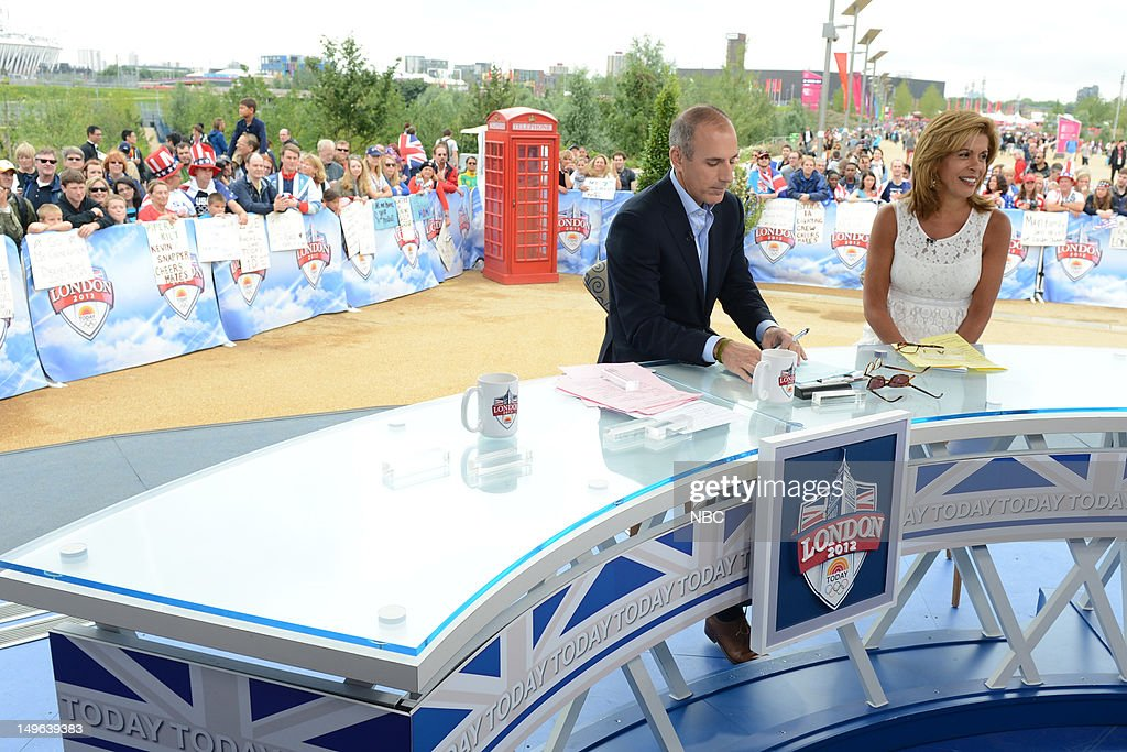 <a gi-track='captionPersonalityLinkClicked' href=/galleries/search?phrase=Matt+Lauer&family=editorial&specificpeople=206146 ng-click='$event.stopPropagation()'>Matt Lauer</a>, <a gi-track='captionPersonalityLinkClicked' href=/galleries/search?phrase=Hoda+Kotb&family=editorial&specificpeople=2338013 ng-click='$event.stopPropagation()'>Hoda Kotb</a> covering the 2012 Summer Olympic Games on July 31, 2012 in London, England --